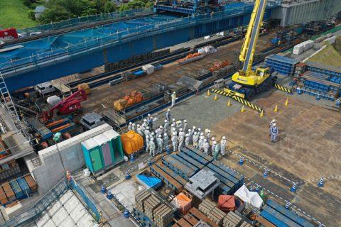 新小谷木橋現場見学 ドローンからの写真