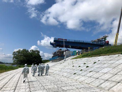 新小谷木橋現場見学 手延べ機